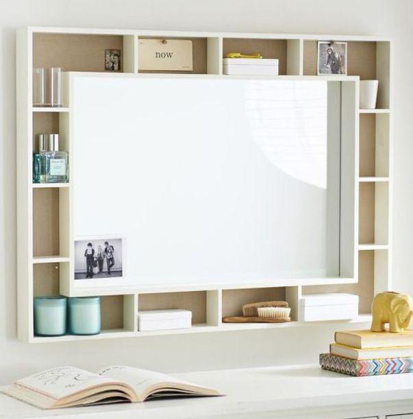 Cute Whiteboard Shelving Unit Mirrored Furniture Home