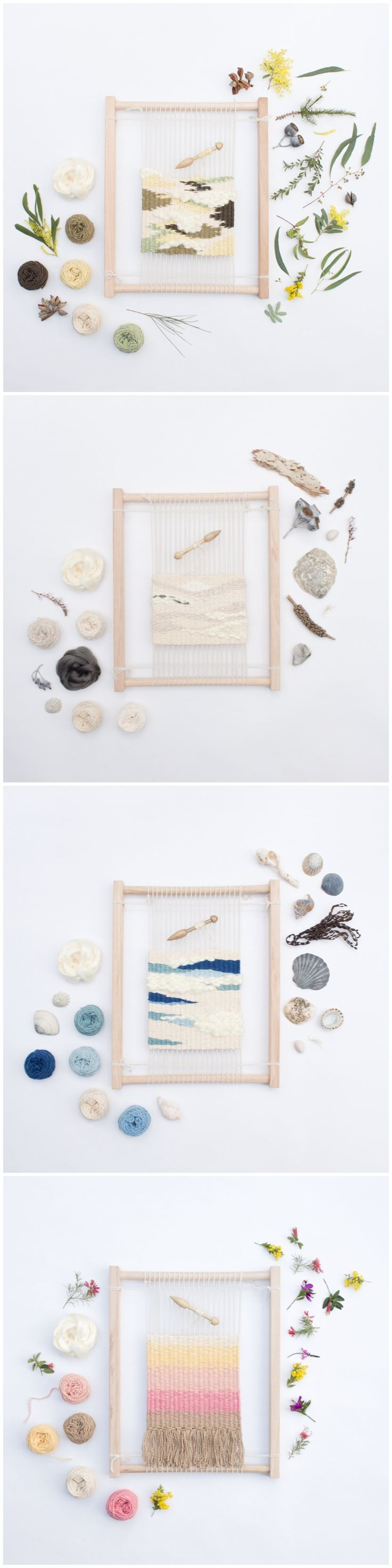 Limited edition Eco Weaving Kit by Alchemy. A handmade, 14 piece beginners weaving kit featuring an artisan made wooden loom and bobbin and natural dyed organic yarns. http://thealchemystore.bigcartel.com -- These are beautiful!