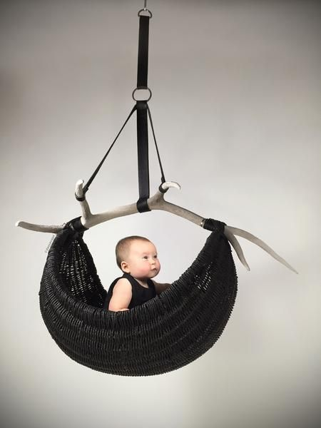 Hanging Elk Horn Basket by Dax Savage Vessel Craftsman Faber Vas