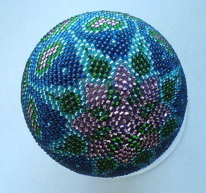 "Музыкальный шар ""Темари"" - шар,подарок,сувенир,медитация,синий,Деревянный шар"