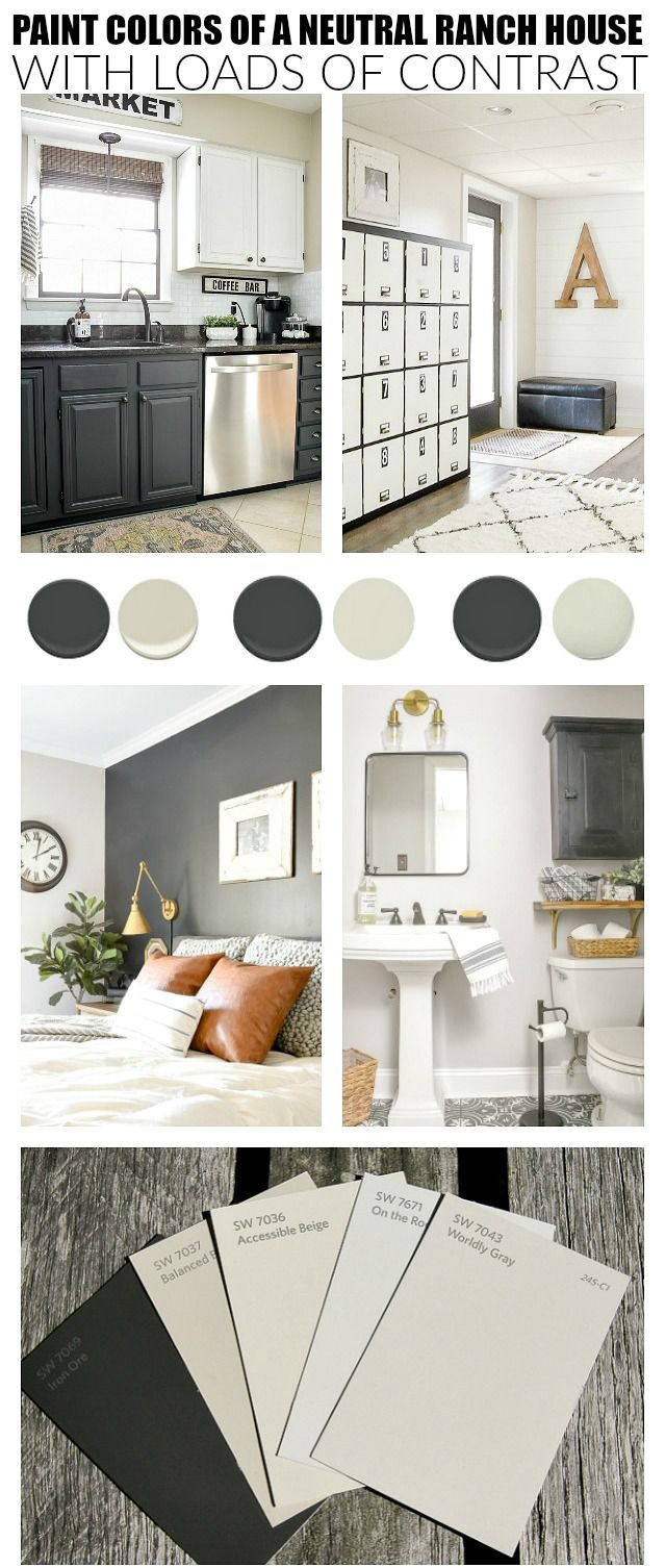 Neutral paint colors for creating a beautiful high contrast home. #sherwinwillia... interior paint