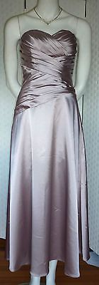 """MISS ANNE""  BEIGE FORMAL, WEDDING, BRIDESMAID GOWN SIZE Small silver lilac gown $30"