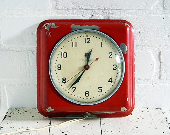 Vintage Wall Clock  Red General Electric Model by ZinniaCottage
