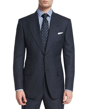 Windsor+Base+Windowpane+Two-Piece+Suit,+Navy+by+TOM+FORD+at+Neiman+Marcus.