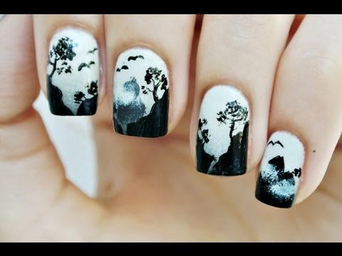 Silent Hill ombre nails manicure | Scary Nail art