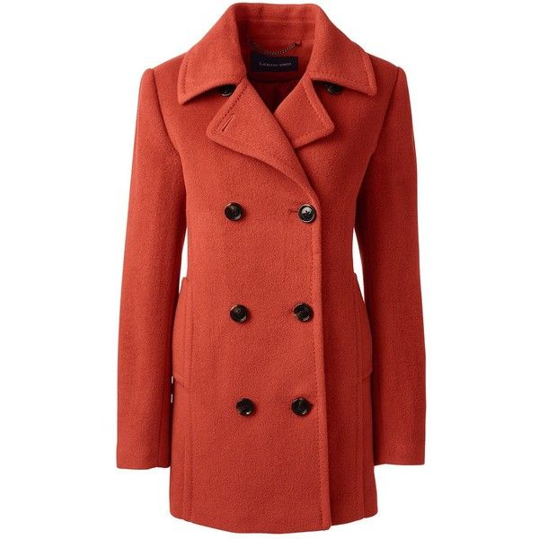Lands' End Women's Plus Size Relaxed Wool Peacoat (€220) ❤ liked on Polyvore featuring outerwear, coats, orange, plus size pea coat, plus size coats, wool peacoat, womens plus coats and red coat
