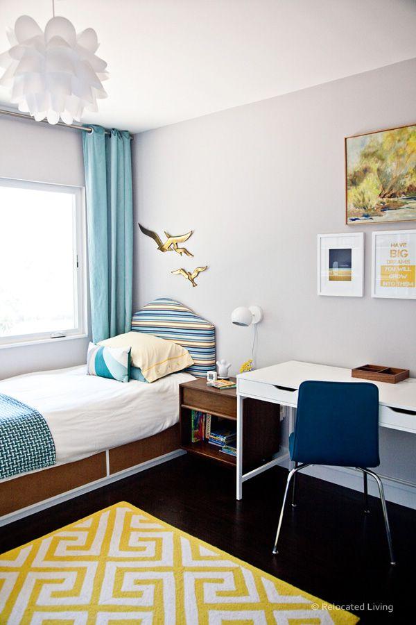 IKEA flaxa twin bed w/ cork contact paper