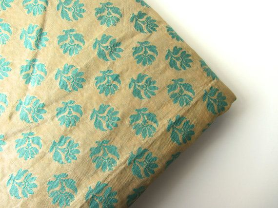 Sea geen blue flowers on gold India silk fabric nr by SilksByUmf, $9.75