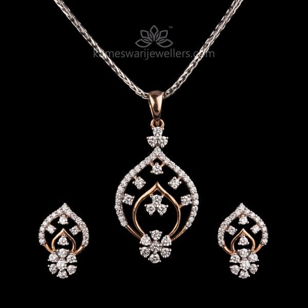 6fe5f705f67a6 Alluring Diamond Pendant Set | Pave Art in 2019 | Diamond pendant ...