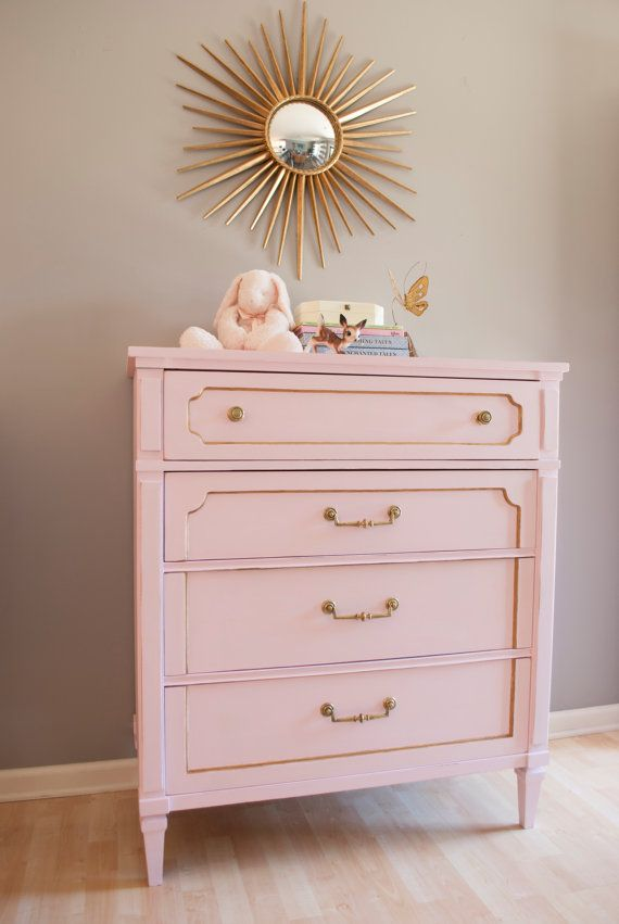 beautiful vintage dresser painted with pink chalk paint. lightly distressed then waxed for a more durable finish  Charming vintage pink and gold dresser by Cuckoo4DesignStudio, $185.00