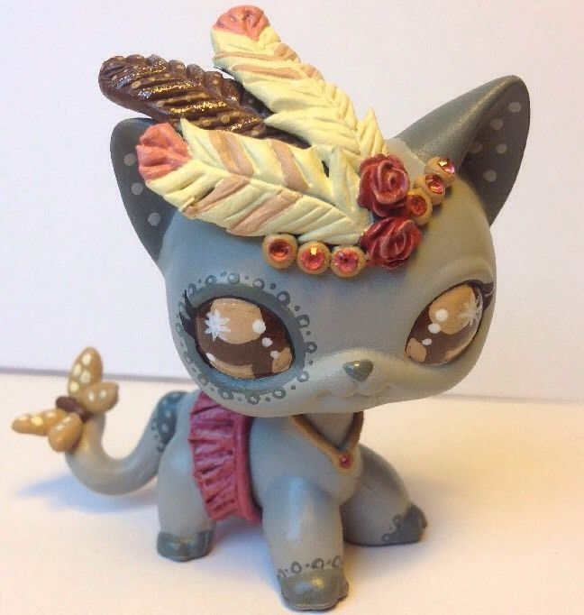 Littlest pet shop Cat  * Pretty Feather Kitty * Custom Hand Painted LPS OOAK #Hasbro