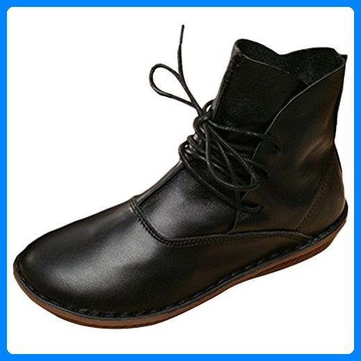 MatchLife Damen Leder Booties Schuhe Flach Style3 Schwarz EU39/CH40 - Slipper und mokassins für frauen (*Partner-Link)