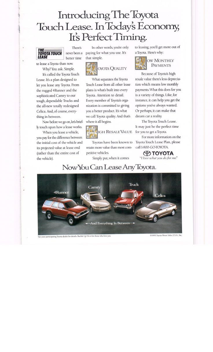 1994 toyota leasing ad featuring 4runner celica camry and truck national geographic september