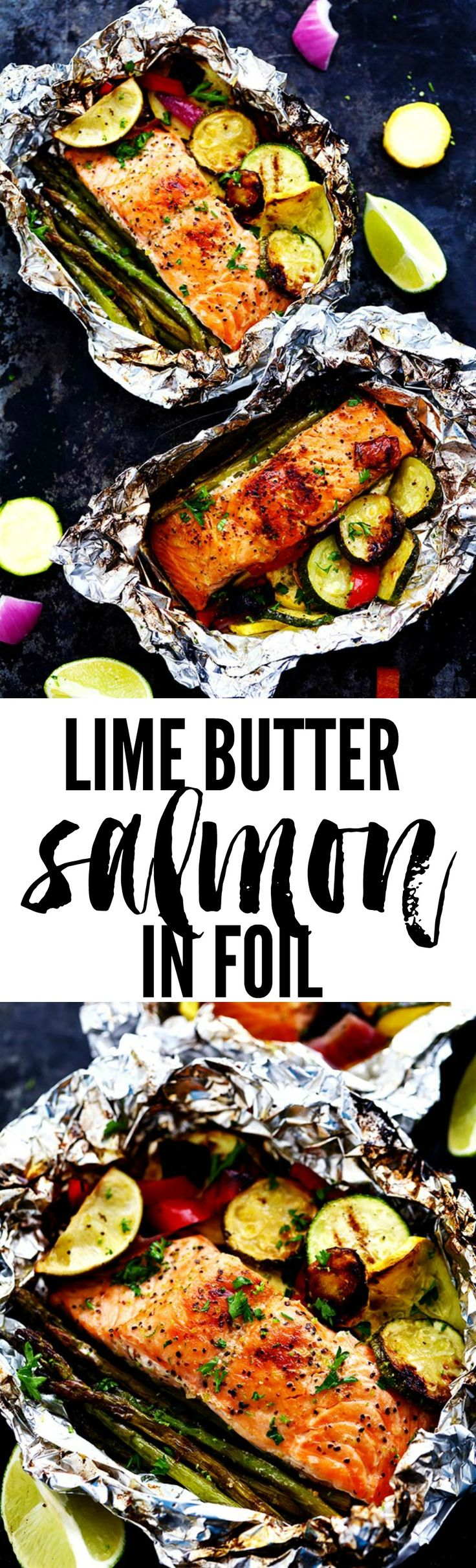 Lime Butter Salmon In Foil With Summer Veggies