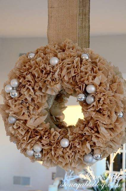 Used Coffee Filters And Ornaments DIY Christmas Wreath Ideas