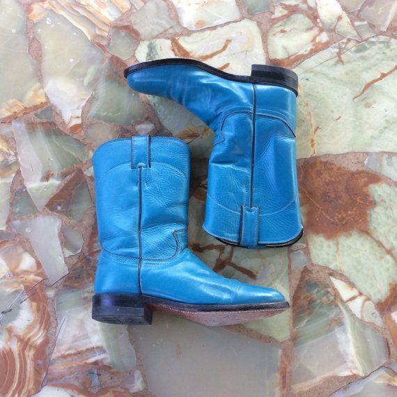 Vintage in pelle turchese brillante Cowgirl stivali / fatta da Justin / taglia 7