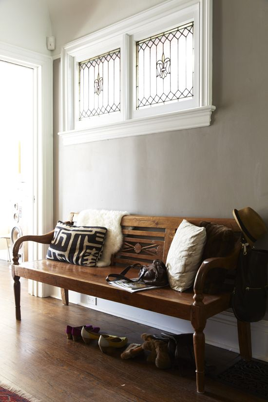 stained glass window + bench vignette