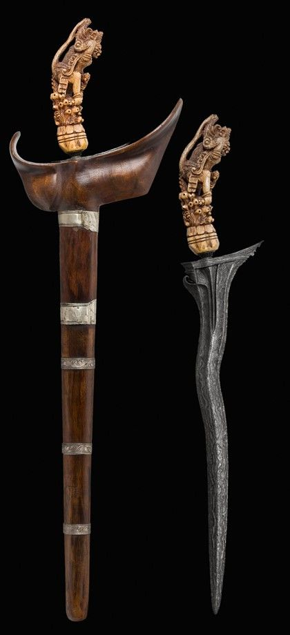Kris dagger 16th century  Indonesia/Malaysia  Steel, buffalo bone.  Caravana Collection  Full Length: 68 cm; Blade Length: 38 cm