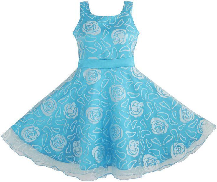 Mädchen Kleid Blau Rose Hochzeit Festzug Kids Boutique