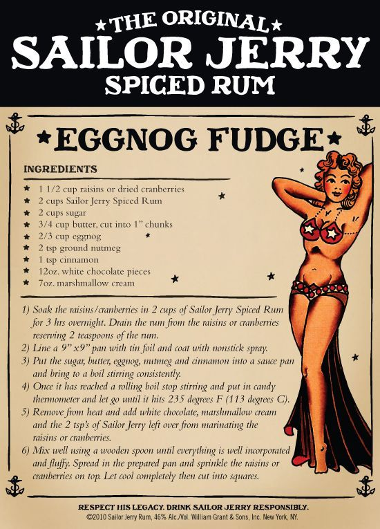 Eggnog Fudge with Sailor Jerry Rum