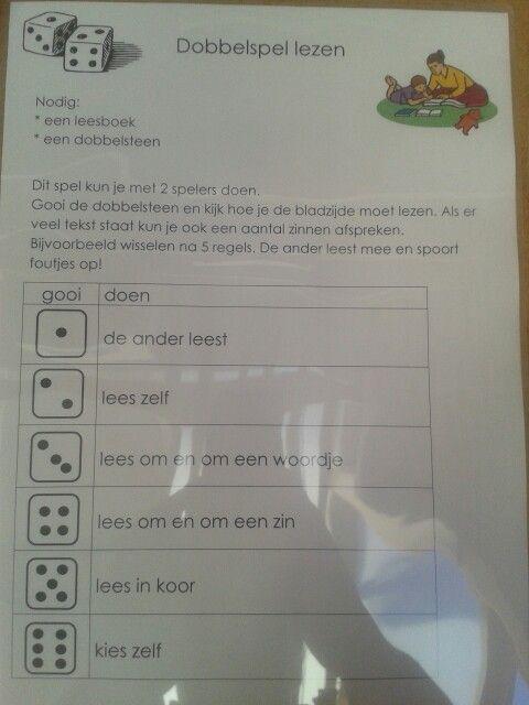 Dobbelspel lezen. Zo maak je het dagelijks oefenen met lezen (thuis) leuker! Leuk idee van juf Christa!