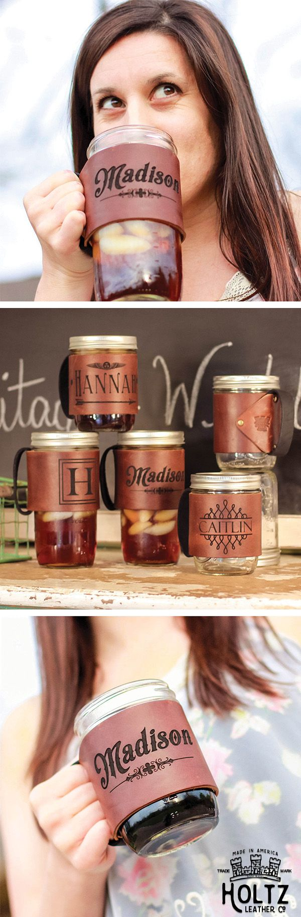 The Bootlegger Custom Mason Jar Leather Koozie is handmade right here in our shop with the finest of Full Grain American leathers.