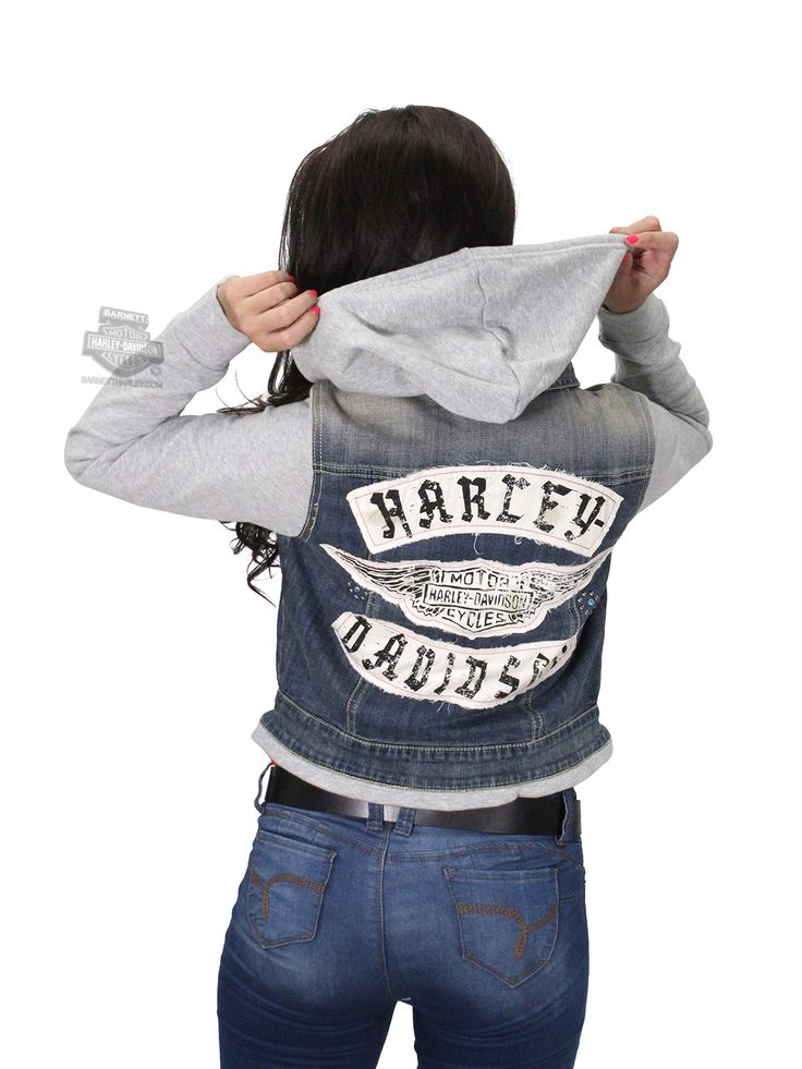 Harley-Davidson® | 96252-16VW | ** SMALL SIZES ONLY ** Harley-Davidson® Womens Winged B&S Hooded Two-Fer Denim Blue Casual Jacket