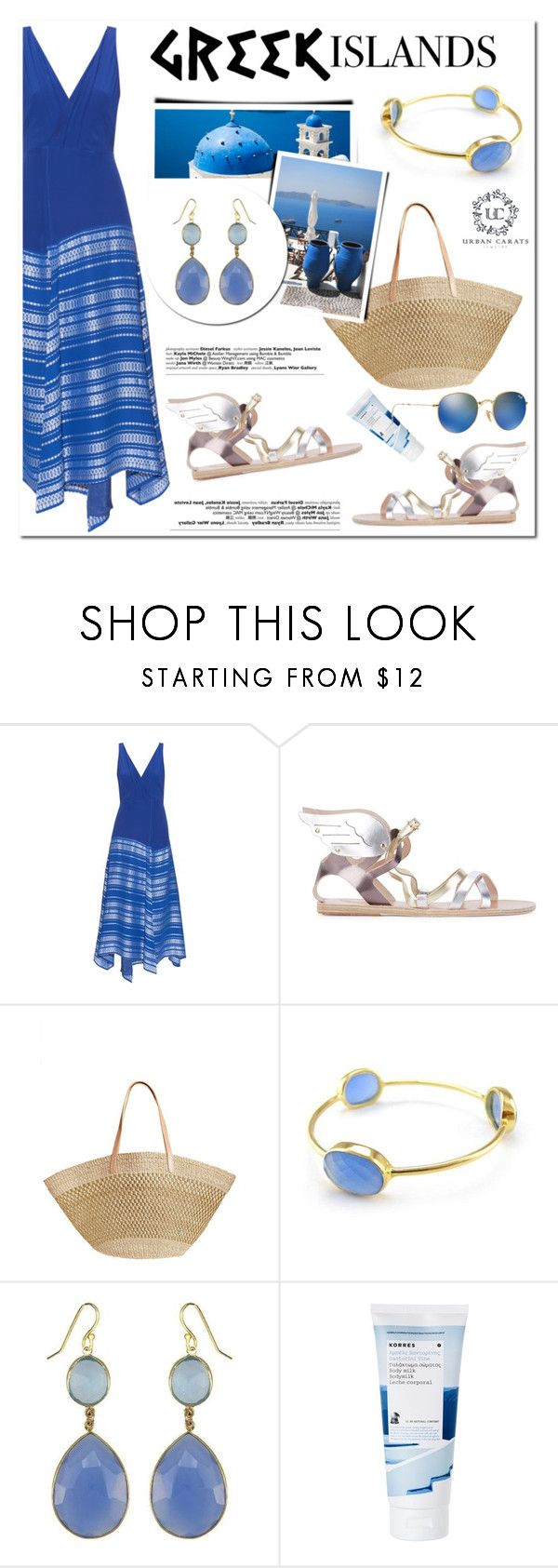 """""""Pack and Go: Greek Islands"""" by helenevlacho ❤ liked on Polyvore featuring Zeus+Dione, Ancient Greek Sandals, Flora Bella, Korres and Ray-Ban"""