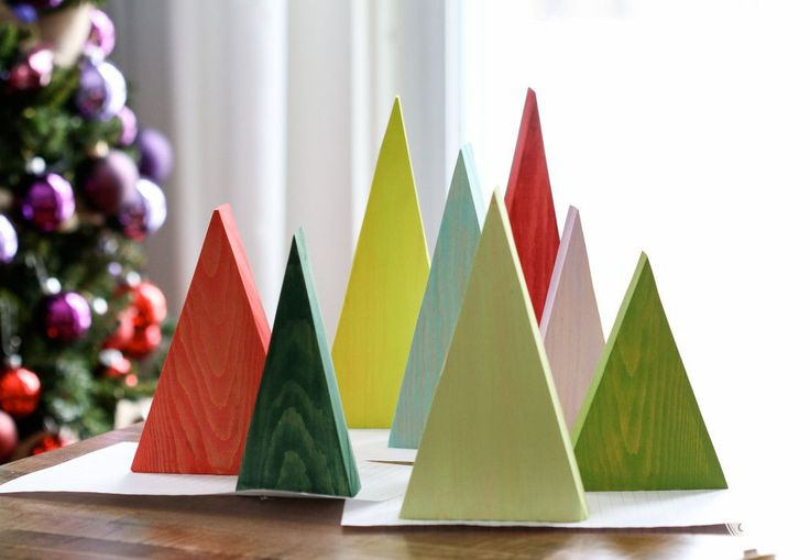 Wooden Trees by @inspiredbycharm | Great Christmas Tree Decor Ideas!