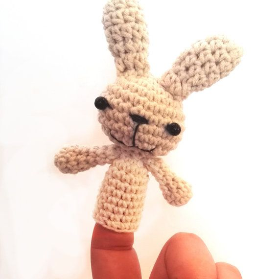 - Finger puppet, bunny finger puppet, rabbit finger puppet, children toys, toys for children, miniature animals    - These soft amigurumi finger puppet is small and portable so you can take it with you everywhere you go! Is a perfect gift for preschool, daycare, homeschool, kindergarten, when you go on trips, or wait somewhere.    - The design is original made by me. It is crocheted with high-quality 50/50 acrylic/cotton yarn and it's head was stuffed with silicone fiberfill. It's eyes are…