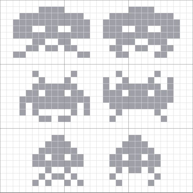 Spaced Invaders pattern // An actual template for my blanket I'm making! Now I can stop searching everywhere every time I lose it.