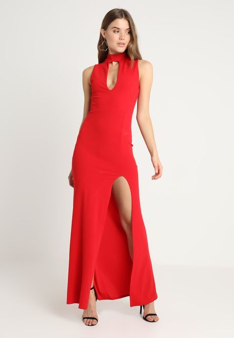 Asos Cocktailjurk.Missguided High Neck Keyhole Detail Maxi Dress Galajurk Red