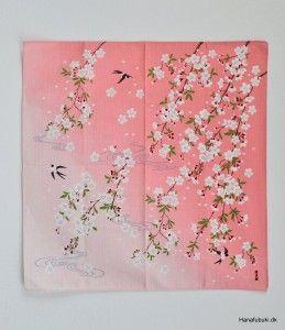 Furoshiki stof med sakura (kirsebærblomster) som motiv