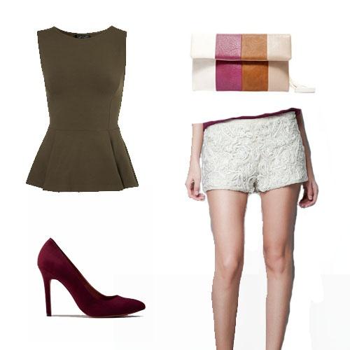 Top peplum de Top Shop por 20 € aprox. Short blanco de encaje y perlas de Zara (39,95 €), bolso a 11,99 € de Blanco y zapatos de Berskha (25,99 €).