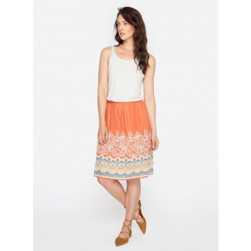 Temple In Bloom Embroidered Skirt The 4 Love & Liberty TEMPLE IN BLOOM EMBROIDERED SKIRT is a great transitional piece whether its summer to fall, or day to night. With a band of cut-out embroidery detail and an Indian-inspired print along the hemline, this casual button-up skirt is as versatile as it is pretty.   —Cotton Voile —Button on the side —Care instructions: Hand Wash Cold, Lay Flat To Dry