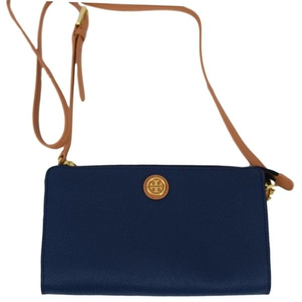 Pre-owned Tory Burch Cameron - Navy Cross Body Bag ($189) ❤ liked on Polyvore featuring bags, handbags, shoulder bags, navy, shoulder strap bag, long strap purse, tory burch purse, navy shoulder bag and white handbags