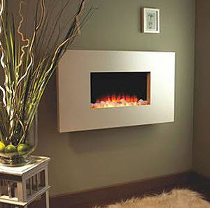 wall mounted fireplace...cool for the basement…