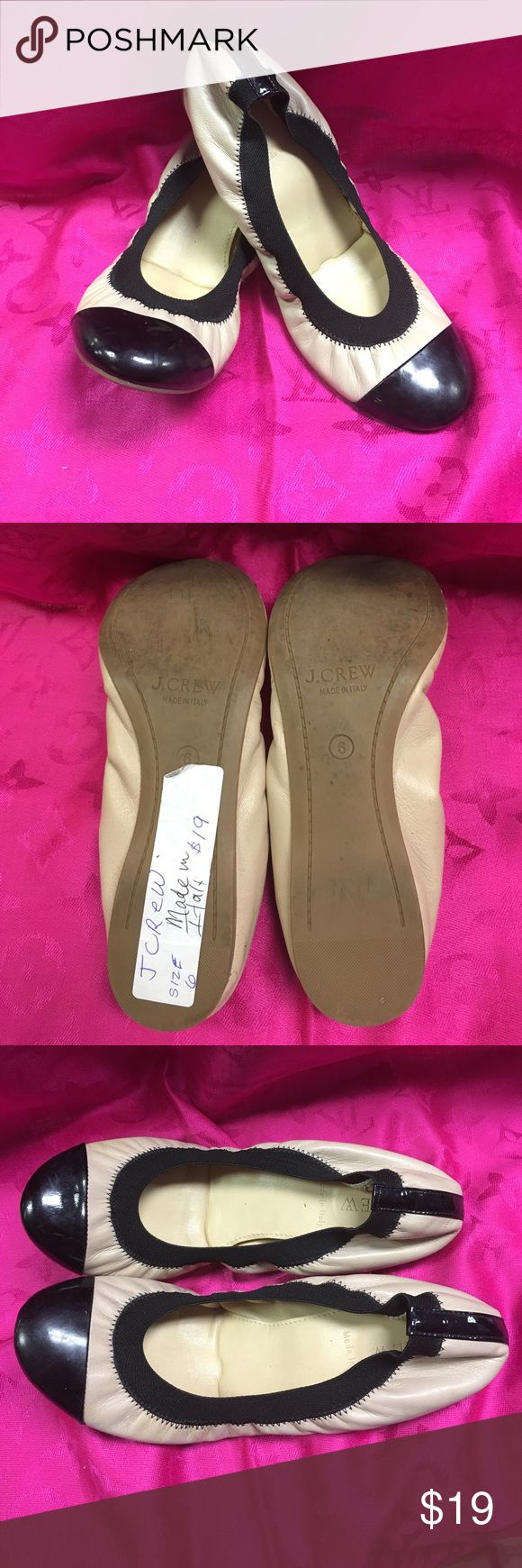 J. CREW BALLERINA SLIPPERS SZ 6 TAN AND BLACK J. crew size 6 ballerina slippers. Neutral color with black trim. Excellent condition. Made in Italy J. Crew Shoes Flats & Loafers
