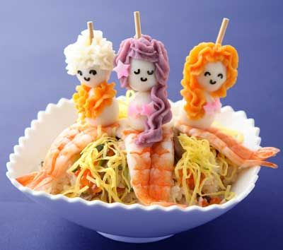 Mermaid Lunch. Could be made with eggs, caviar, shrimp, nori features, and rice or noodles at the bottom.