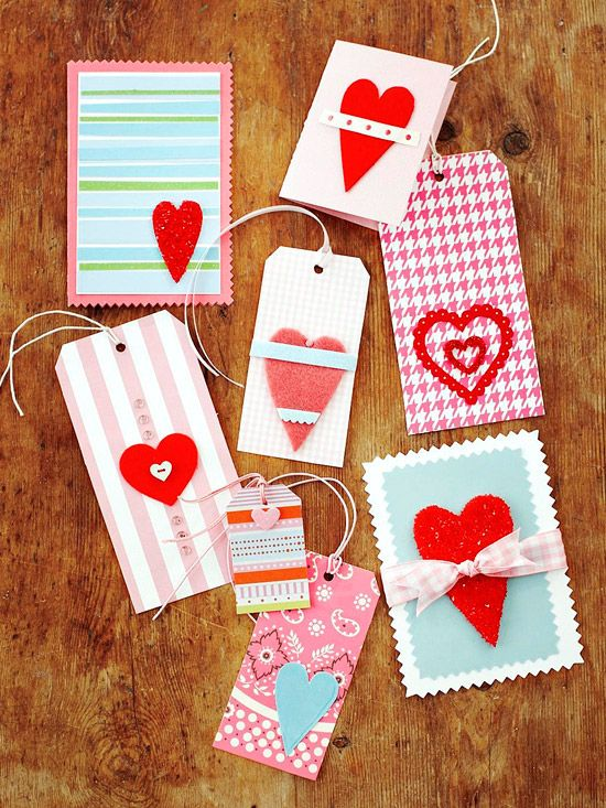 Valentine Cards and Gift Tags with Heart Shapes