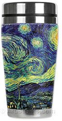 All stainless steel inside and soft neoprene outside. Nine art styles of insulated Travel mugs like Van Gogh Starry Night $24.95 with Free U.S. Shipping at http://www.artistgifts.com/art-gifts/5-starry-night.html
