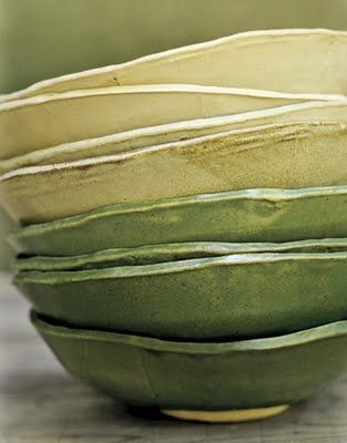 Handmade stacked pottery plates made by Joan Platt of joanplattpottery.com.