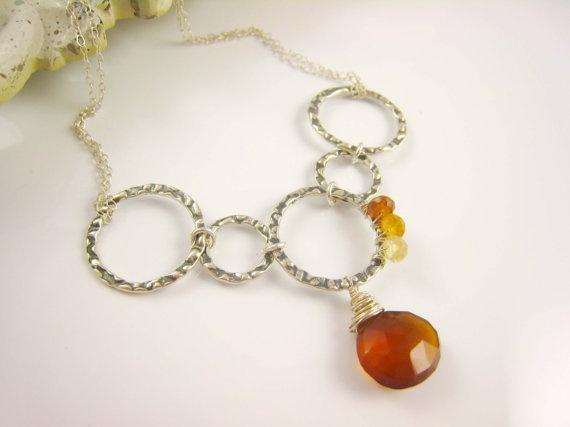 Chalcedony Hessonite Garnets Sterling Silver by Sienna Grace #Jewelry