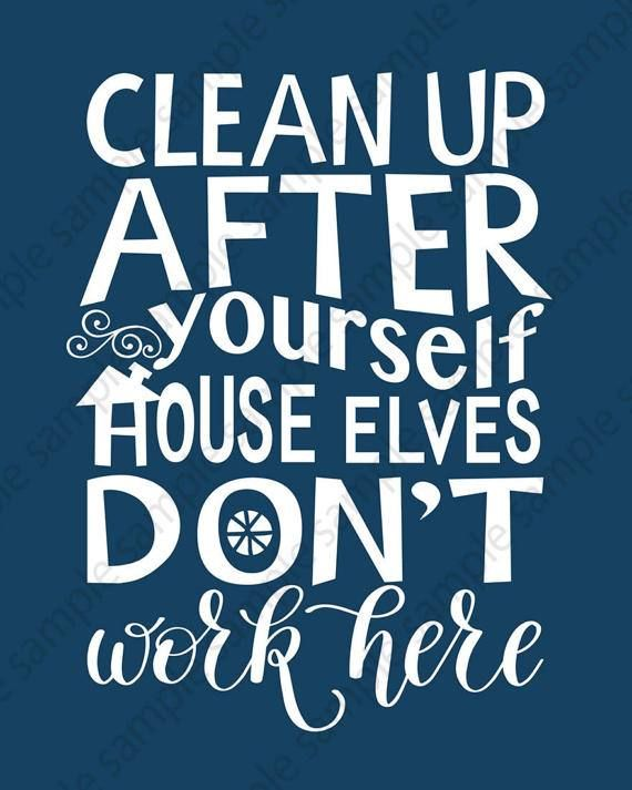 House rules wall art blue and white printable sign clean - Clean up after yourself bathroom signs ...