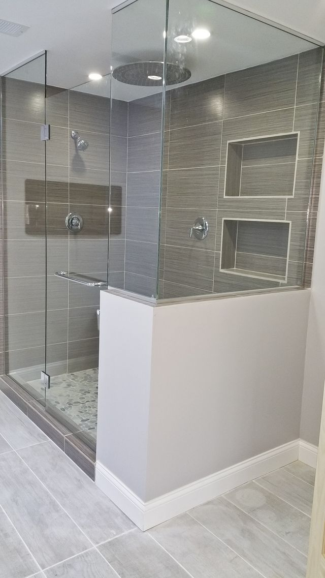 We Upgraded This Style Bathroom To A Modern Design. Features: Heated  Flooring LED Lighting Fireplace Stand Alone Tub Walk In Shower Waterfall  Shower Head Part 34
