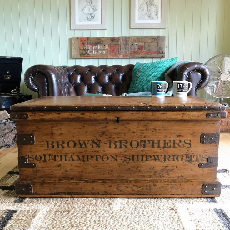 Wonderful ANTIQUE Victorian INDUSTRIAL Shipwright PLANK Tool CHEST Trunk PINE Coffee  TABLE