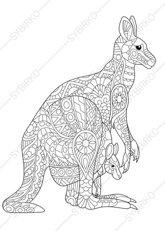 Adult Coloring Pages Kangaroo Family Zentangle Doodle