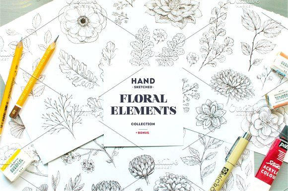 Handsketched Floral Elements Kit by adehoidar on @creativemarket