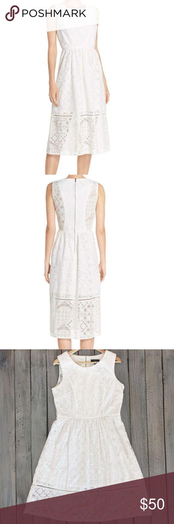 Maia White Lace Knee Length Sleeveless Dress SZ 14 Modcloth Maia from Nordstrom • White crochet lace • Sleeveless • Midi length dress • Zipper closure up entire back • 3/4 of the way down lined • Women's size 14 • EUC Modcloth Dresses Midi