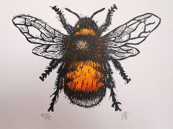 Bumble Bee Lino Print Lino Cut by Tournesollinoprints on Etsy